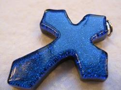 Art: Blue Jesus Cross by Artist Drita Harris