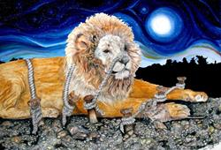 Art: Aesop Tale The Lion & The Mouse by Artist Lisa Morgan
