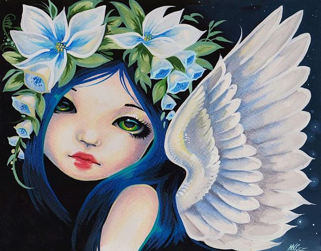 Art: Soft Wings and Green Eyes by Artist Nico Niemi
