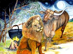 Art: The Lion and The Bull by Artist Lisa Morgan