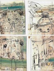 Art: ACEO Card Set of 4 by Artist NoRaHzArT