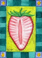 Art: Illuminated Strawberry (ATC) by Artist Wendy L. Gonick