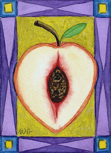Art: Illuminated Peach (ATC) by Artist Wendy L. Gonick