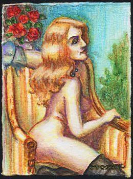 Art: ATC - Vintage Nude #2 by Artist Madeline  Carol Matz