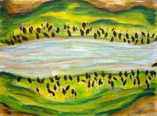 Art: Wildebeests Renewal by Artist Tracey Allyn Greene