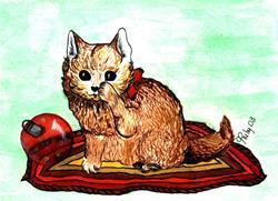 Art: Christmas Kitten by Artist Marcia Ruby