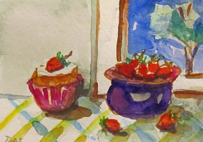 Art: Strawberries and Cupcake aceo by Artist Delilah Smith