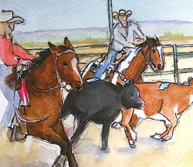 Art: Team Penning by Artist Deborah Sprague
