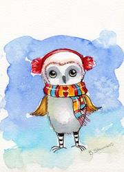 Art: Winston the winter owl by Artist Betty Stoumbos