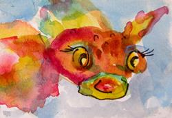 Art: Pink Fish Aceo by Artist Delilah Smith