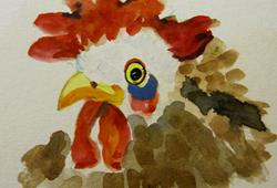 Art: Rooster Aceo by Artist Delilah Smith