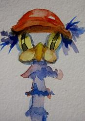 Art: Ostrich in Hat-SOLD by Artist Delilah Smith