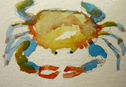 Art: Blue Crab Aceo by Artist Delilah Smith
