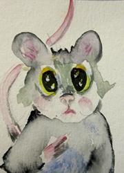 Art: Big Eyed Mouse Aceo by Artist Delilah Smith