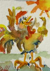 Art: Wake Up Rooster Aceo by Artist Delilah Smith