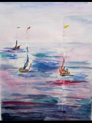 Art: Three Sail Boats by Artist Delilah Smith
