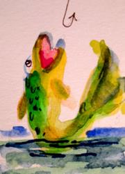 Art: Fish Aceo by Artist Delilah Smith