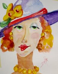 Art: Girl in a Hat by Artist Delilah Smith