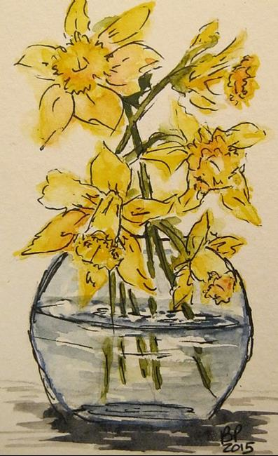 Art: Daffodils in Bowl-Sold by Artist Bonnie Pankhurst