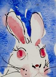 Art: Bunny with Pink Eyes by Artist Delilah Smith