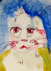 Art: Pink Eyed Bunny by Artist Delilah Smith