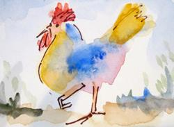 Art: Colorful Hen by Artist Delilah Smith