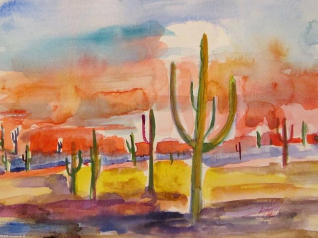 Art: Sunset in the Desert by Artist Delilah Smith