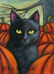 Art: Black Cat in the Autumn Pumpkin Patch by Artist Lisa M. Nelson