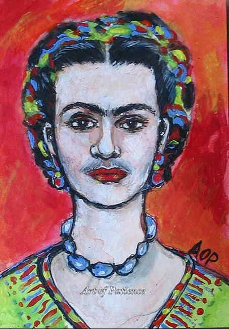 Art: ACEO Enthusiasts Weekly Challenge:  Frida by Artist Patience