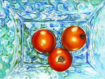 Art: Mom's Blue Hobnail China with Tomatoes by Artist Alma Lee