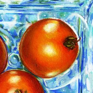 Detail Image for art Mom's Blue Hobnail China with Tomatoes