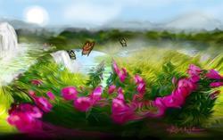 Art: Rose garden Unpromised by Artist Alma Lee