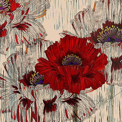 Art: Poppy Fields Retro Style by Artist Alma Lee