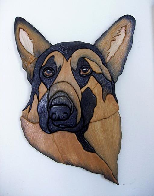 Art: Geman Shepherd..Original Painted Intarsia Art by Artist Gina Stern