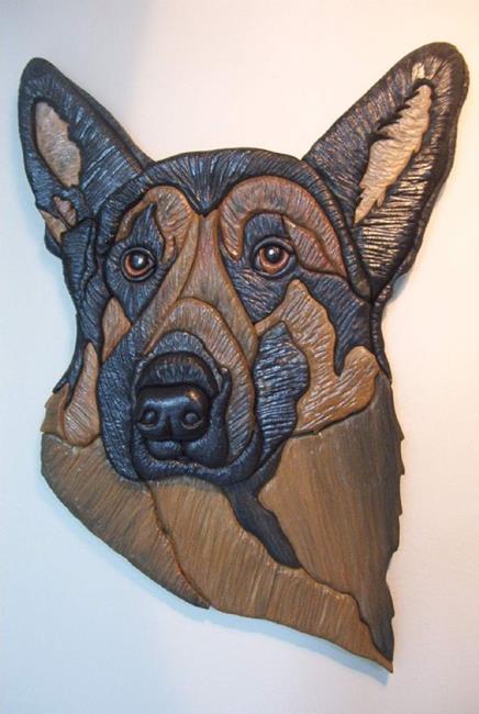 Art: German Shepherd Original Painted Intarsia Art by Artist Gina Stern