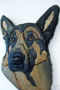 Detail Image for art German Shepherd Original Painted Intarsia Art