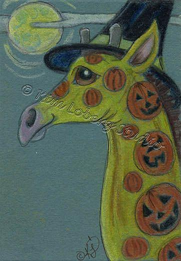Art: Pumpkin Tattooed Giraffe Witch by Artist Kim Loberg