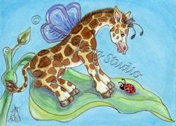 Art: The Giraffe Fly & Lady Bug by Artist Kim Loberg