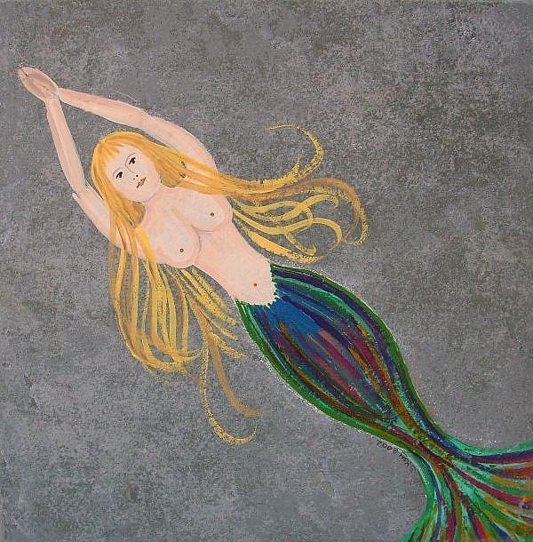 Art: Mermaid On Tile by Artist Sherry Key