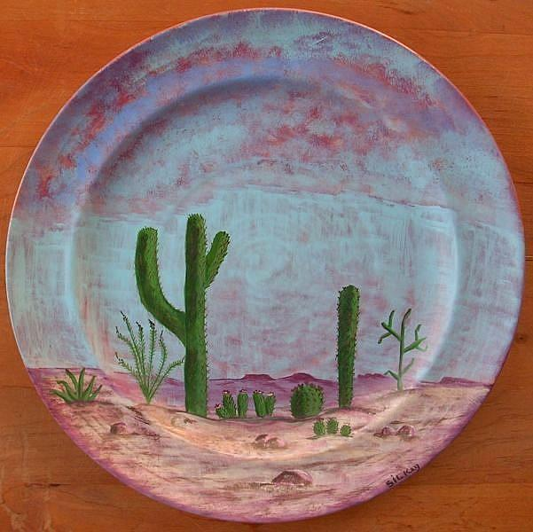 Art: West Texas Cactus Plate by Artist Sherry Key