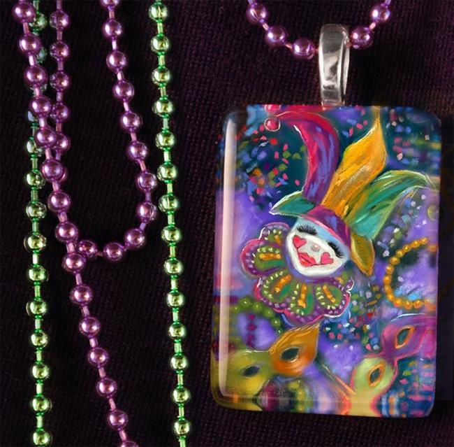 Art: Mardi Gras Festival Art Glass Tile Pendant by Artist Patricia  Lee Christensen