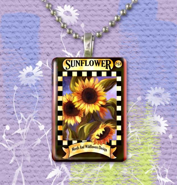 Art: Sunflowers Seeds Packet Art Glass Tile Pendant by Artist Patricia  Lee Christensen