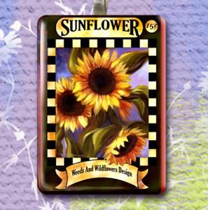 Detail Image for art Sunflowers Seeds Packet Art Glass Tile Pendant