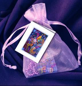 Detail Image for art Mardi Gras Festival Art Glass Tile Pendant
