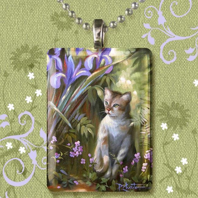 Art: Kitty & Iris Glass Art Pendant by Artist Patricia  Lee Christensen
