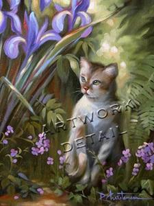 Detail Image for art Kitty & Iris Glass Art Pendant