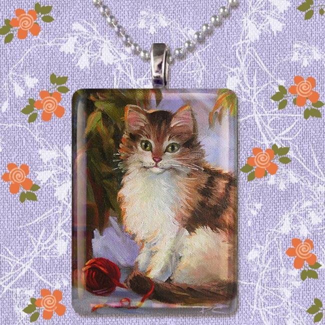 Art: Glass Art Pendant ~ Kitty & Yarn by Artist Patricia  Lee Christensen