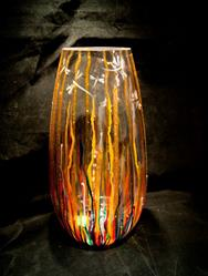 Art: 2012 Circus Dragonfly Tall Glass Vase by Artist Rebecca M Ronesi-Gutierrez