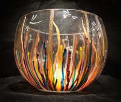 Art: 2012 Circus Dragonfly Wide Glass Bowl by Artist Rebecca M Ronesi-Gutierrez