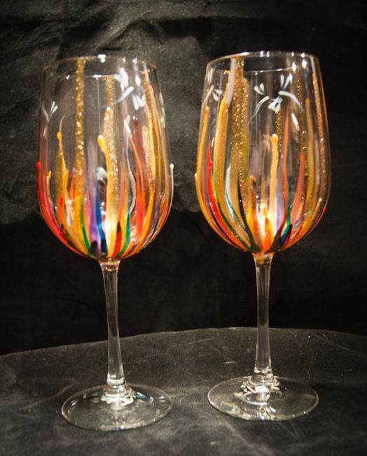 Art: 2012 Circus  Dragonfly wine glass set by Artist Rebecca M Ronesi-Gutierrez